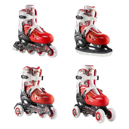 Roller Skates Σετ 4 Σε 1 Nils Extreme NH0320A No35-38 Red