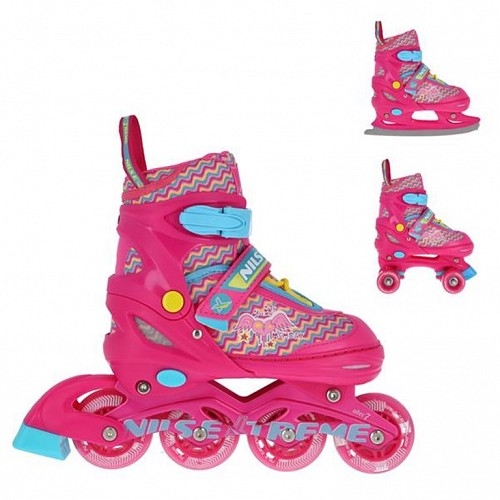 Roller Skates Σετ 3 Σε 1 Nils Extreme NF 4413 No34-37 Pink