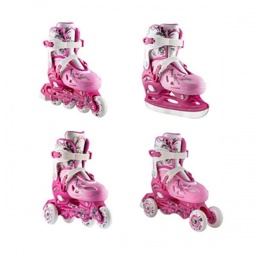 Roller Skates Σετ 4 Σε 1 Nils Extreme NH0320A No35-38 Pink